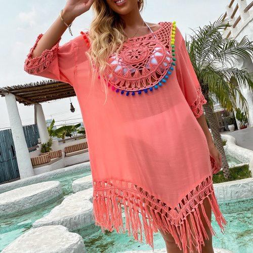 Bikini Cover Up With Fringe Trim Women Sexy Hollow Tunic Beach Dress Summer Bathing Suit Beachwear