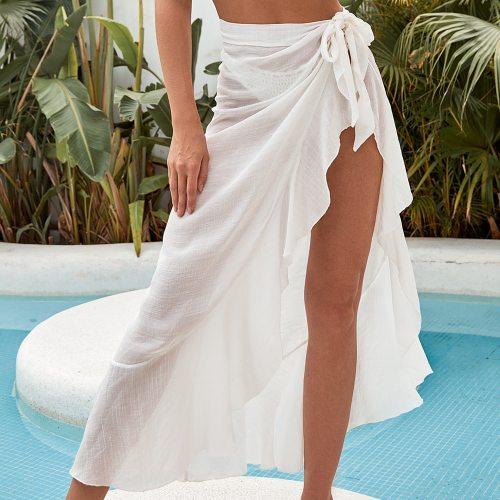 Solid Women Sheer Mesh Bikini Cover Up Swimwear Swimsuit Bathing Summer Pareo Beach Cover Up Tunics See Throngh Long Skirts
