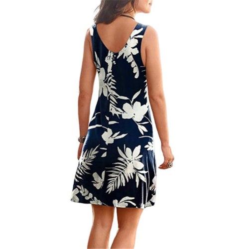 Beach Boho Print Dress 2021 New Sexy V-neck Sleeveless Loose A-Line Dress Plus Size Summer Women Casual Dresses Vestidos