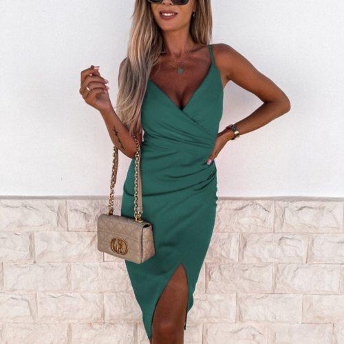 Women Elegant Solid Split Party Dress 2021 Summer Sexy V-Neck Off Shoulder Dresses Office Lady Fashion Backless Dress Vestidos