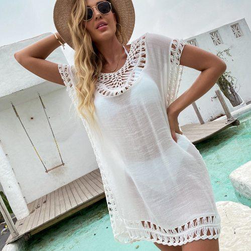 Ladies White Hollow Out Crochet Swimsuit Sexy Women Beach Wear Lace Bikini Short Cover Up Fashion Swimwear Beach Dress