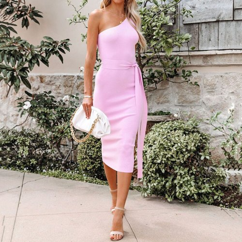 2021 Summer New One Shoulder Solid Color Irregular Sexy Fashion High Waist Sleeveless Women's Dress Bandage Commute
