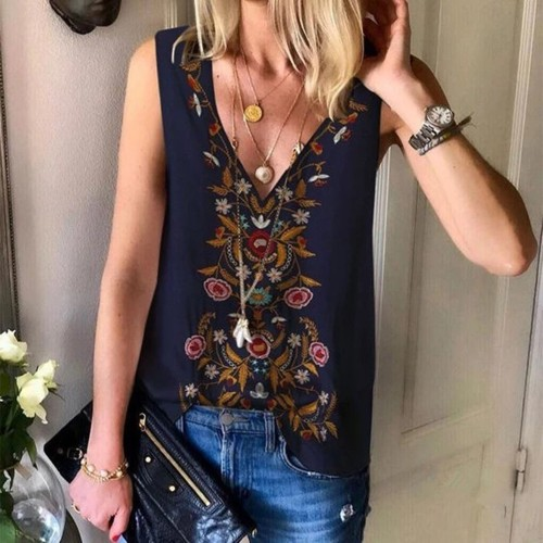 Vintage Tops For Female 2021 Women's Casual V-neck Ethnic Wind Printed Chiffon Shirt Top