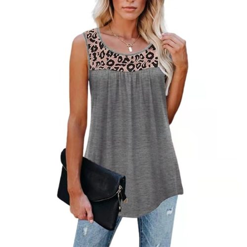 2021 Summer Women Tank Tops Sleeveless Leopard Patchwork Print Loose O-neck Vest Casual Tunic T-shirt  Women Clothing
