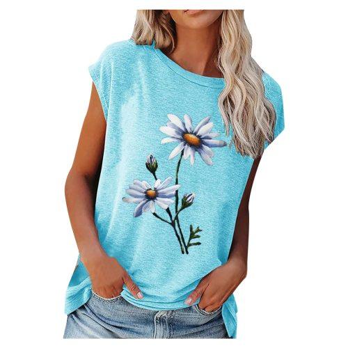 2021 Summer Tee Shirt Women Round Neck Short Sleeve Casual Flower Print Vintage Tops Pullover Female Elegant Streetwear T-shirts