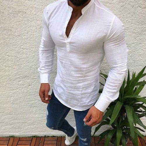 Men Long Sleeve Shirt Slim Fit Black White Shirt Stand Collar Patchwork Casual Business Shirt Men Summer Top