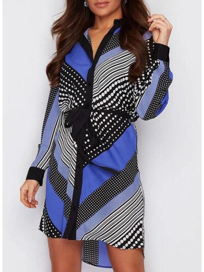 Women Lapel Long-sleeved Lace-up Geometric Polka Dot Shirt Dress 2021 Autumn Winter New Fashion Femme Robe Midi Dress Vestidos