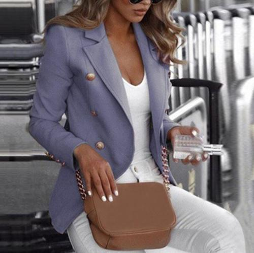 Blazer Women's Office Wear Jacket Fashion Casual Long Sleeve Autumn Double Breasted Solid Color Stand Up Collar Small Suit