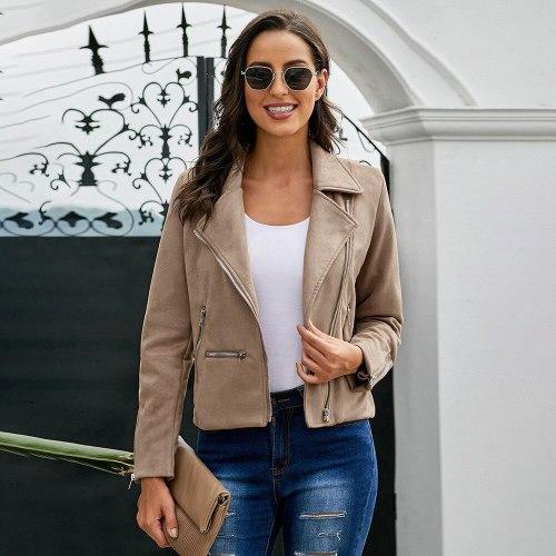 Womens Faux Suede Short Velvet Jacket Moto Biker Zip Up Slim Jackets Motorcycle Polyurethane Leather Lapel Coats Winter Outwear