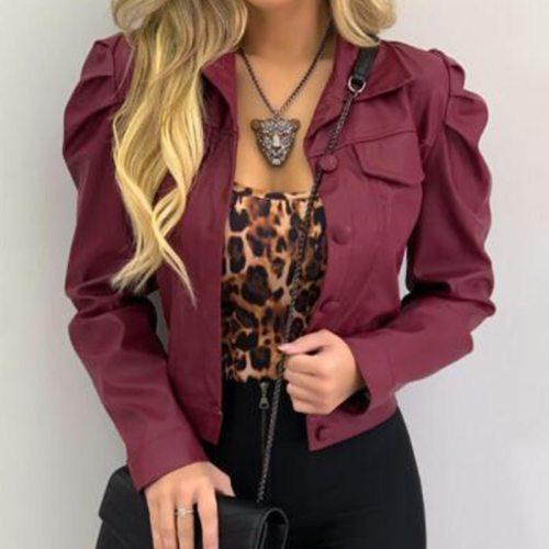 Autumn Winter Fashion Turn-Down Collar Coat Casual Button Long Sleeve Short Cardigan Jacket Elegant Solid Women Top Outwear