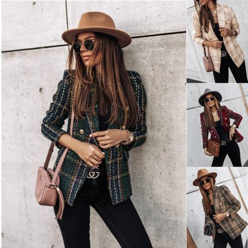 Women's Spring Autumn Long Sleeve Jacket Double Splicing Color Matching Suit Collar Fashion Coat Women's Outerwear