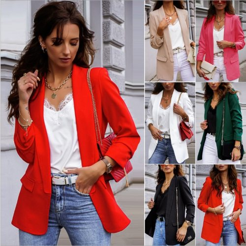 Autumn and winter women's long-sleeved small suit Europe and United States new OL temperament professional body jacket