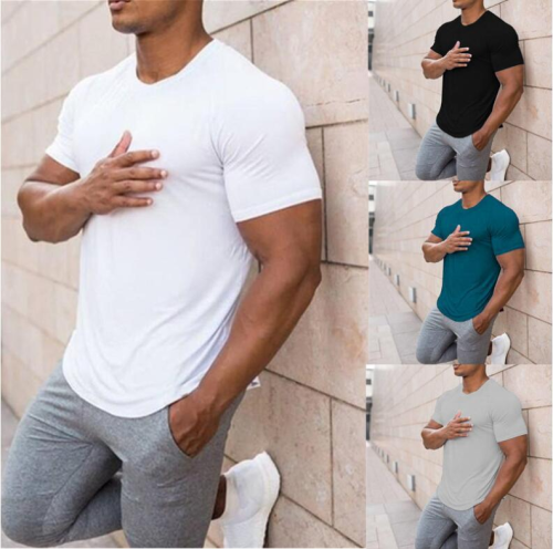 Summer Men T-shirts Casual Short Sleeve O-neck Solid Slim Basic Tee Shirt Men Fitness Bottoming Tops Plus Size