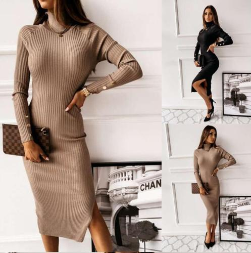 Knitted Dress Woman Backless Autumn Bodycon Dresses for Women Solid Turtleneck Sheath Long Sleeve Split Winter Dresses