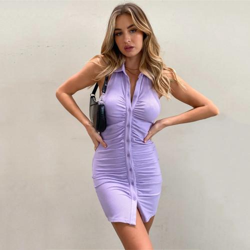 Black Backless Halter Ruched Mini Dress Women 2021 Elegant Sleeveless Women Dress Skinny Spring Single Breasted Vestido