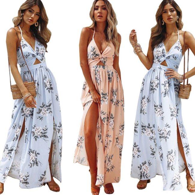 Elegant Lady Evening Party Dress Pink Summer Beach Chic Woman Dress Bohemian Boho Sexy Backless Blue Maxi Long Floral Slit Dress