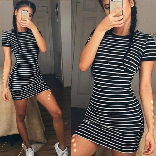 Summer Round Neck Enough Stock Short-sleeved Dress Black And White Striped Dresses Casual Elegant Sheath Slim Dress