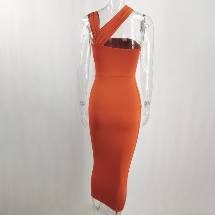 One Shoulder Dress Fall Solid Color Cut out Sleeveless Long Dresses for Women Slim Fit Party Vestidos Sexy Club Outfits