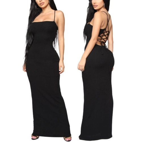 Female Dress Solid Color Sleeveless Spaghetti Strap One-Piece Backless Sundress for Summer Black S/M/L