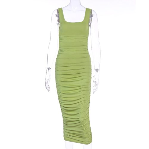 Summer Sleeveless Bodycon Ruched Club Midi Tank Dress Women Elegant Slim Fit Backless Sexy Long Party Dresses