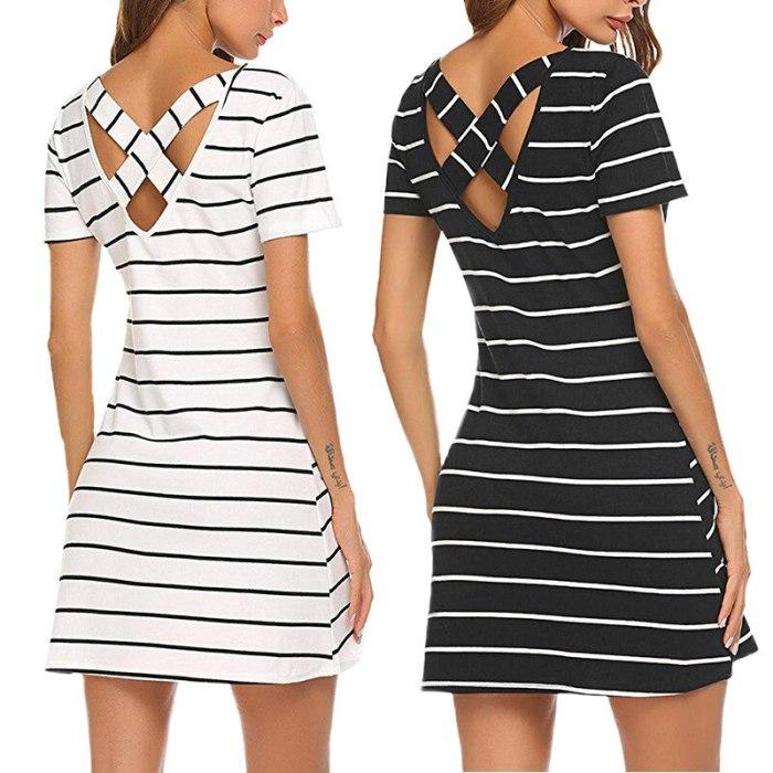 European and American Fashion Dress Stripe Round Neck Casual Loose Autumn Women's Wear