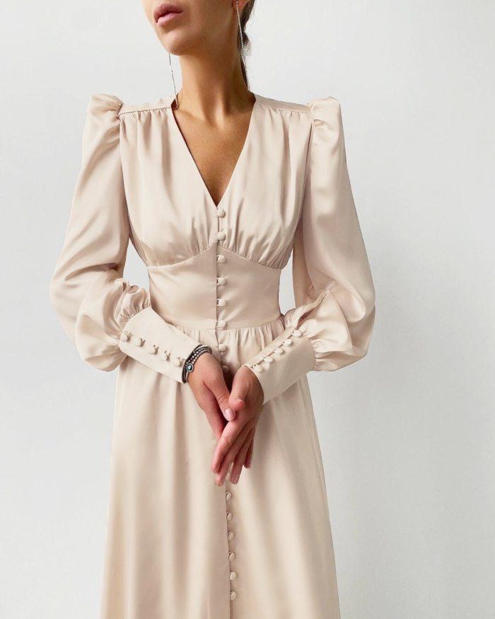 Women Beige Single Breasted Sexy Dress Party Clud High Waist Satin Long Dress Elegant V Neck Women Midi Dresses Lantern Sleeve
