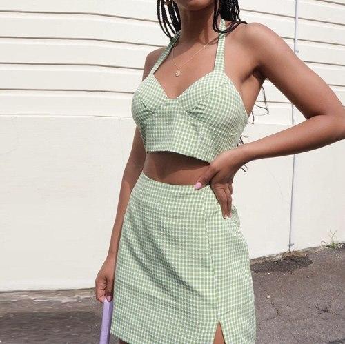 Fashion Summer Green Plaid Clothes Set Women Sleeveless Halter V Neck Short Vest Split Skirt Ladies Girls Outfits