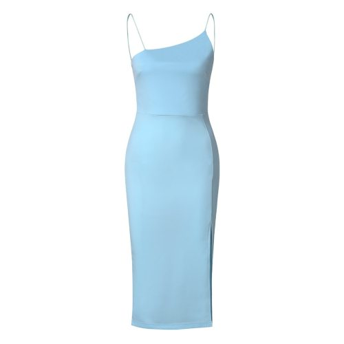 2021 New Summer Women's Sexy Slim and Shiny Amoi Pure Color Sling Slim Sexy Wrapped Hip Sling Dress Women