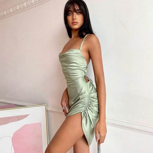 Satin Backless Sexy Party Mini Dress Thin Strap Elegant Outfit Women spring Women Fashion Birthday Clothes