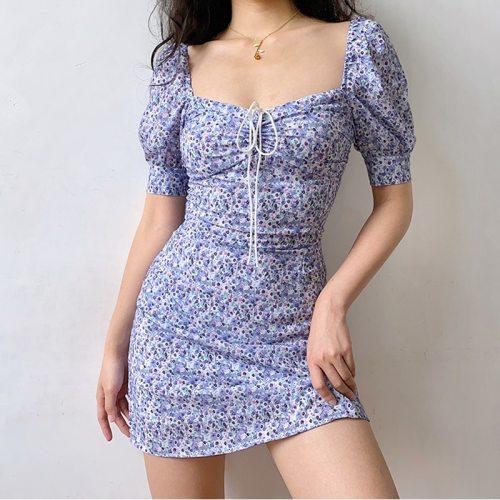 Summer Printed Vintage Dresses 2021 Fashion Puff Sleeve Casual Short Mini Dress Women Korean Clothes Chiffon Sexy Bodyon Dress