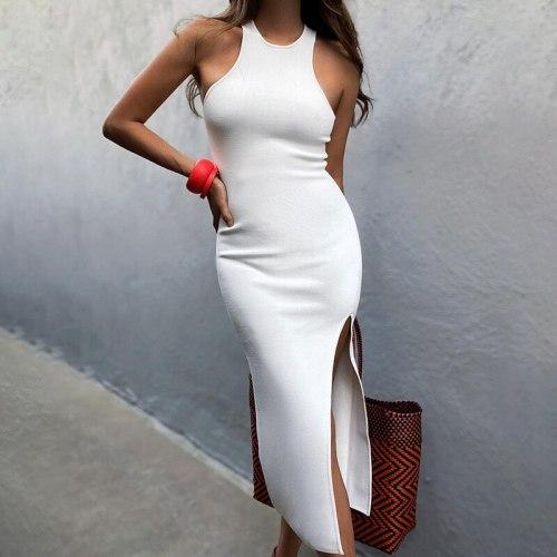 Sleeveless Sexy Slim Women's Dresses Tank Sheath White O-Neck High Waist Mid-Calf Split Lady Dress 2021 Summer Night Club Party