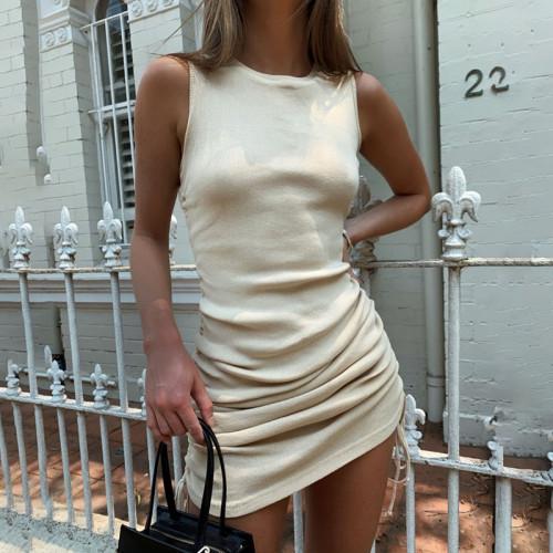 Summer Solid Casual Vacation Slim Dress Women Knitting O Neck Sleeveless Fashion Skinny Lady Mini Wrap Dress New