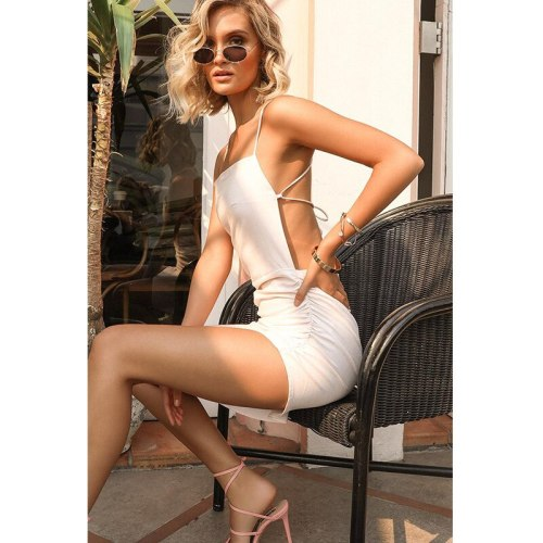 Sexy Dress Ladies Bodycon Vestidos Sleeveless Backless Strap Solid Sling Asymmetry Woman Clothing Summer Dress Undefined