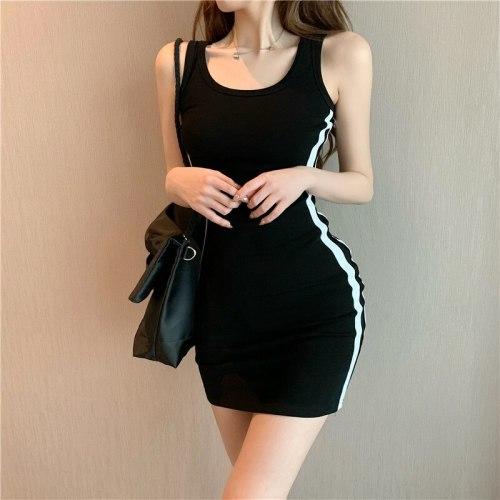 Casual Skinny Dress 2021 New Women Fashion Sexy Stretch Slim Dress Lady Summer dress Striped Vest Mini Dress Plus Size swimwear