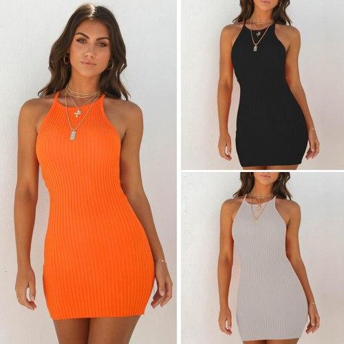 Summer Women's Round Neck Halter Dress Sexy Buttocks Slim Fit Camisole Fashion Solid Color Mini Dresses