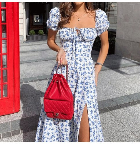 French Floral Print Summer Dress Women Elegant Ruffle Lace Up Puff Sleeve Bodycon Dresses Sexy V-Neck High Split Party Vestidos