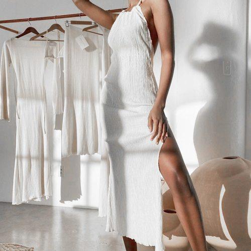 Solid Halter Sleeveless Ruffle Split Long Dress Female Sexy Backless Stylish Party Dresses For 2021 Summer White Lady Vestidos