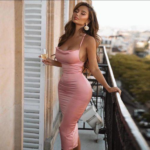 2021 Hot Female Satin Bodycon Midi Sleeveless Backless Elegant Party Outfits Sexy Club Dress