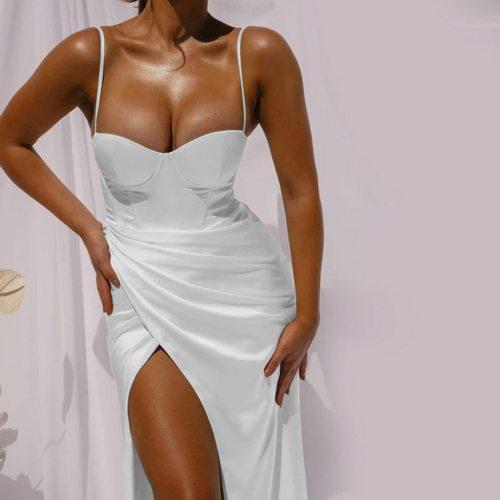 Summer Dress Women's Solid Color Sexy Slim-Fit Split Sling Strapless Open-Back Dress