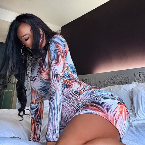 Tie Dye Slim Dress Fashion Party Prom Female Dresses 2021 Sexy Summer Long Sleeve Turtleneck Aesthetic Clothes