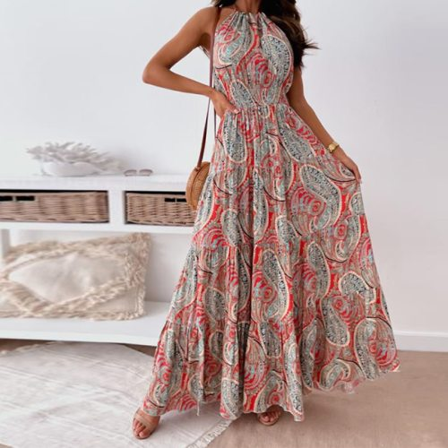 New Sexy Halter Backless Long Party Dress Women Casual Pattern Print Vintage Dress Sping Summer Off Shoulder Ruffle Maxi Dresses