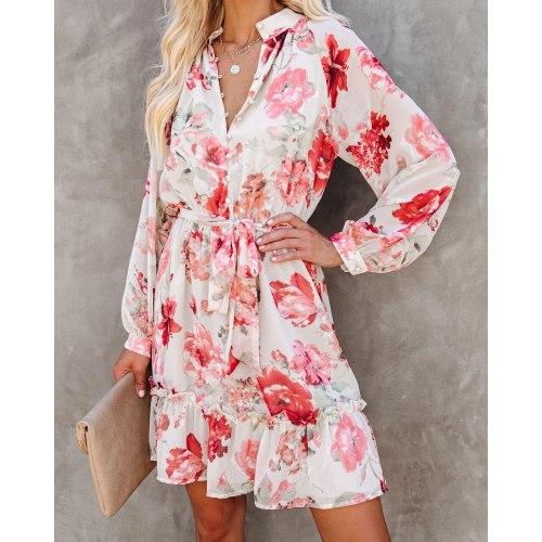 2021 Autumn and Winter Women's Dress Fashion Print High Waist A-line Floral Dress