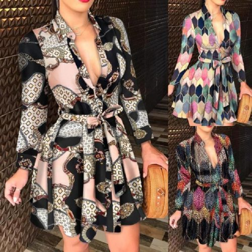 Women Clothes Print Shirt Dress Casual Autumn  2021 V-Neck Sexy Short Dress Fashion Streetwear Vintage Women Mini Dress Vestidos