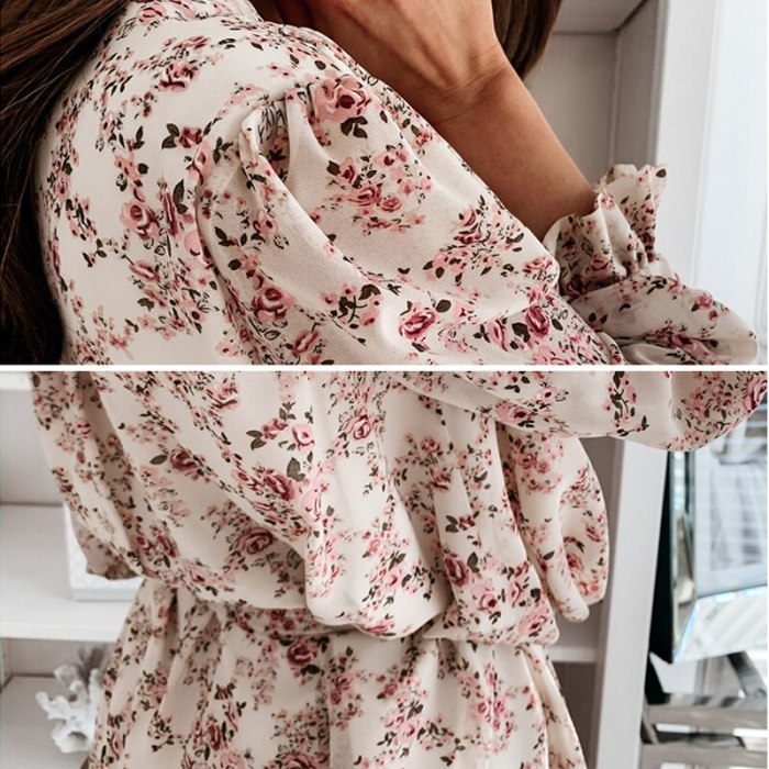 Autumn Boho Cascading Ruffle Floral Print Dress Women Casual Long Sleeve A Line Dress Sashes Female Elegant Mini Party Vestidos