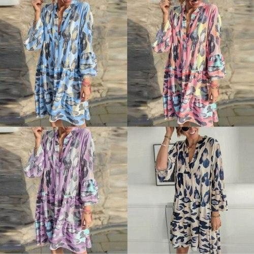 Women Casual Loose Home Print Flare Sleeve Shirt Dress 2021 Fall Women Fashion Sexy V-neck Beach Dress