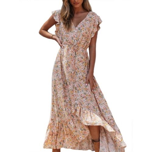Floral Print Long Dress Boho Summer Vestidos Buttons Sashes Ladies Gypsy Maxi Dresses Casual Female Spring New