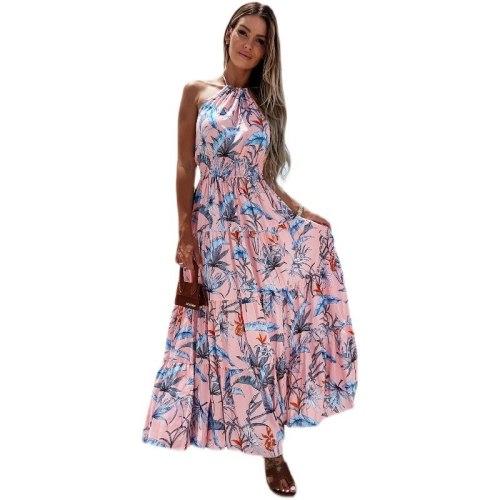 Holiday style red flower printed dresses midi camisole spaghetti strap summer A-line designer boho dress