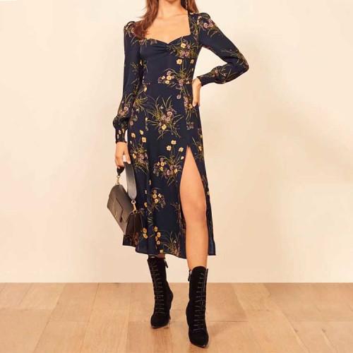 Heart Collar French Style Dress Women Long Sleeve Elasticity Vintage Long Party Dress Black Split Chiffon dresses