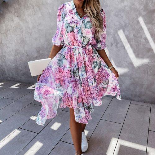 Summer Half Sleeve Floral Print Chiffon Dress Elegant Women V-Neck Button Midi Ladies Fashion Irregular Slim Party Dresses