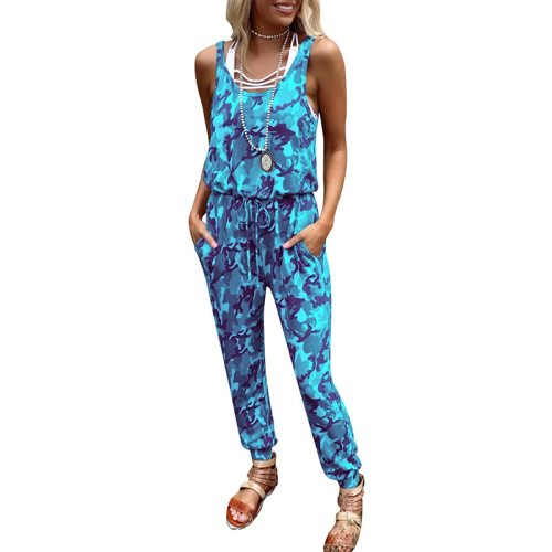 Lady Camouflage Print O-Neck Sleeveless Mid-Waist Casual Tank Tops Jumpsuit Summer 2021 Fashion Streetwear Long Pants Jumpsuits